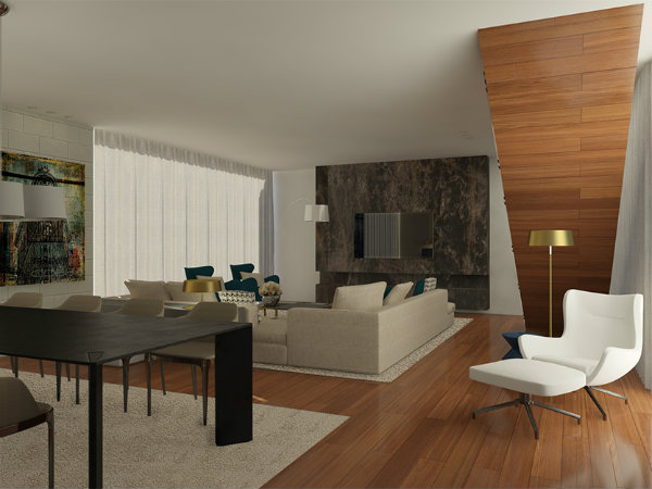 living room design wood and marble